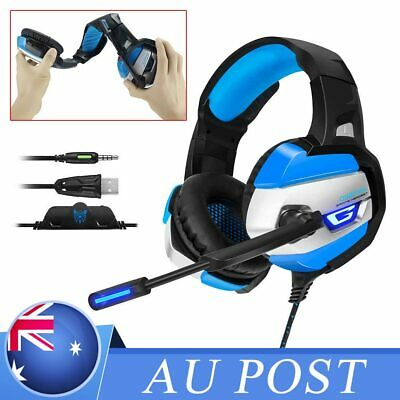 Gaming Headset Surround MIC LED Headphones K5 for PS4 PC Laptop Xbox One Pink AU
