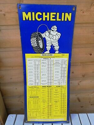 Plaque tole de gonflage pneus Michelin/garage ancien/voiture/old garage /old car