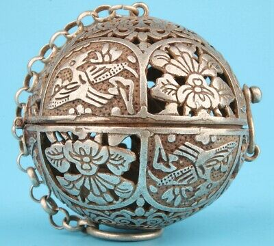 Tibetan Silver Hand-Carved Flower Incense Burner Pendant Auspicious Collec