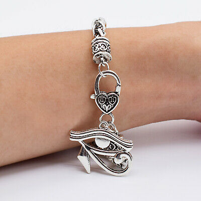 Mens Ancient Egypt Cool Bracelet Antique Silver Plated Eye of Horus Necklace Set