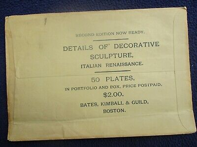 1880's LARGE Bates,Kimball,Guild Boston Sculpture Italian Plates Stamp,Cover!