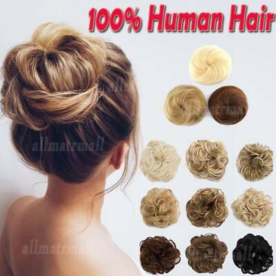 AAAA Messy Bun Scrunchie Updo Chignon 100% Remy Real Hair Piece Extensions R121