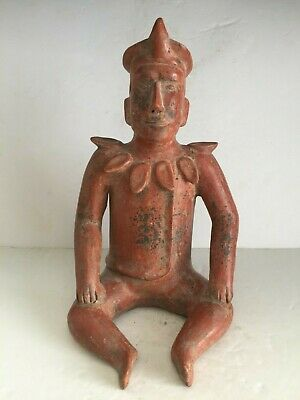 Large Pre Columbian COLIMA Terracotta Seated Shaman Figure Scalloped Collar 14""