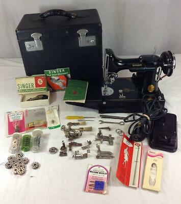 Vintage Singer Featherweight 221 Sewing Machine With Many Accessories!
