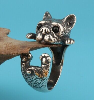 Precious Chinese 925 Silver Ring Statue Dog Hand-Carved Mascot Decorated Gifts