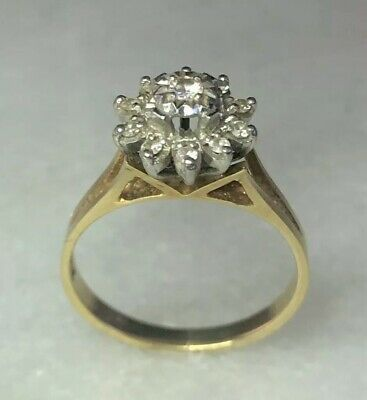 Solid 18ct 750 Gold Natural Diamond Cluster Ladies Ring
