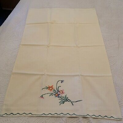 Vintage Hand-Embroidered Standard Pillowcase FLORAL BOUQUET