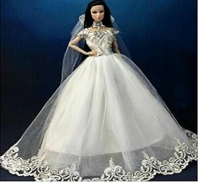 New Handmade For Barbie Wedding Dress Long Veil Shoes Earrings 9PC