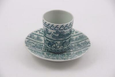 Nymolle Art Faience Hoyrup Bedside Water Cup & Saucer Denmark~Vikings & Knights