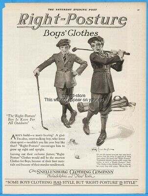 1920 F X Leyendecker Snellenburg Clothing Co Vintage Boys Clothes Golf Theme Ad