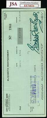 Elizabeth Montgomery Jsa Cert Hand Signed Bewitched Check Authentic Autograph