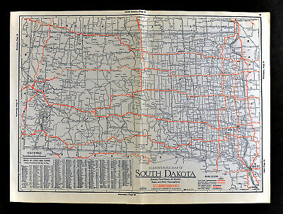 1930 Clason Auto Road Map South Dakota Black Hills Rapid City Sioux Falls City