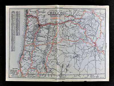 1930 Clason Auto Road Map Oregon Salem Portland Astoria Eugene Crater Lake Baker