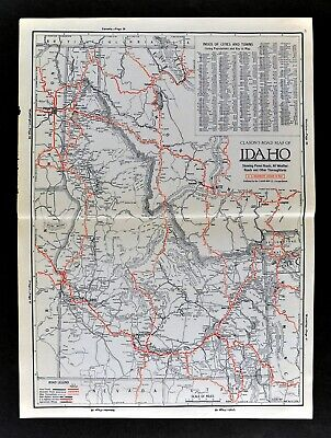 1930 Clason Auto Road Map Idaho Boise Pocatello Grand Tetons Twin Falls Lewiston