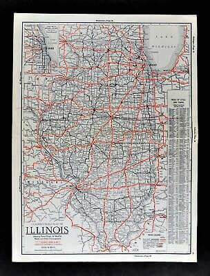 1930 Clason Auto Road Map Illinois Chicago St. Louis Route 66 Springfield Peoria