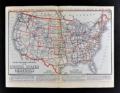 1930 Clason Auto Road Map United States Highways & Travel Guide Rt. 66 Routes