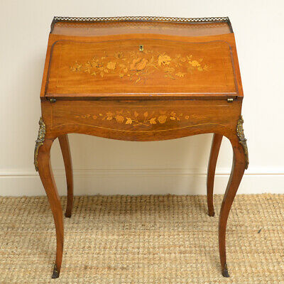Quality 19th Century Inlaid Walnut Antique Bonheur Du Jour / Bureau