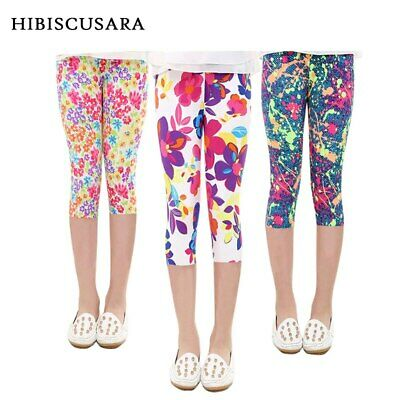 3-10years Girls Cropped Trousers Floral Print Flower Kids Calf Length Skinny