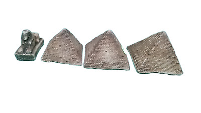 Vintage Egyptian 3PCs Pyramid Egypt Sphinx Souvenir Art Statue Antique Handmade