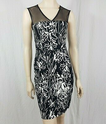 FCUK French Connection Black White Bodycon Pencil Dress Squiggle Size UK 8