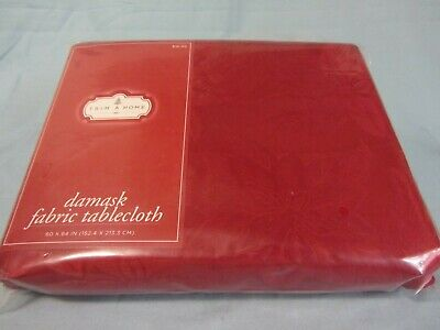 "DAMASK FABRIC 60"" x 84"" TABLECLOTH TRIM A HOME CHRISTMAS RED POINSETTIA NEW"