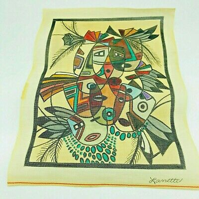 Hand Painted Needlepoint Pattern Lanette Masks Tribal Feathers Colorful