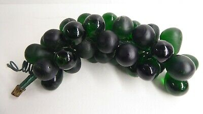Antique Glass - Bunch Black , Dark Green Glass Grapes