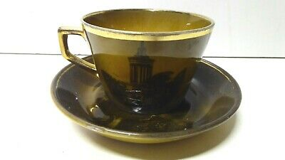 Antique Ridgways Pottery Picture Cup And Saucer Olde English
