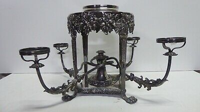Antique Ornate Silver Plated Centre Piece Embossed Grapevine Claw Foot Stand
