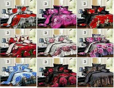 3D Effect 4Pcs Bedding Complete Set (Quilt Cover,Fitted Sheet & Pillowcases)