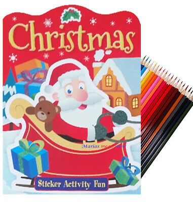 CHILDRENS CHRISTMAS ACTIVITY PACK Kids Xmas Colouring Set Tree Present 51284