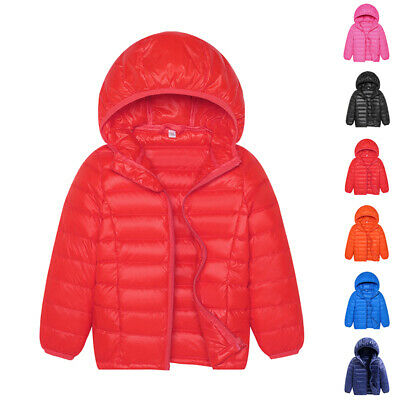 Winter Kids Boys&Girls Duck Down Snowsuit Hooded Warm Quilted Puffer Coat Jacket