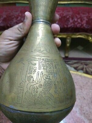 Antique Copper Egyptian  Vase  Pharaonic drawings carved by needle