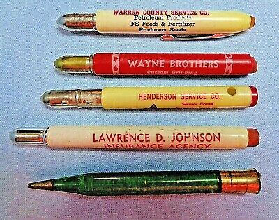 VTG . Lot of 5 . Bullet Pencils . Ads for Henderson - Knox - Warren Co. Illinois