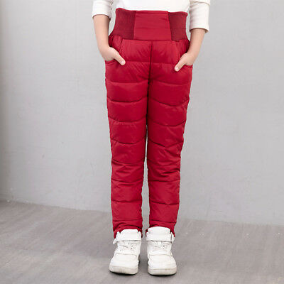 Winter Kids Child boys Girls Long thick Pants Stretch Cotton Down Trousers 3-12Y