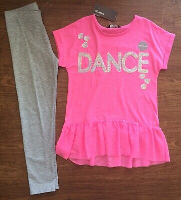 "Bnwt George Pink ""Dance"" Top And Grey Leggings Set Size 7-8 Years"