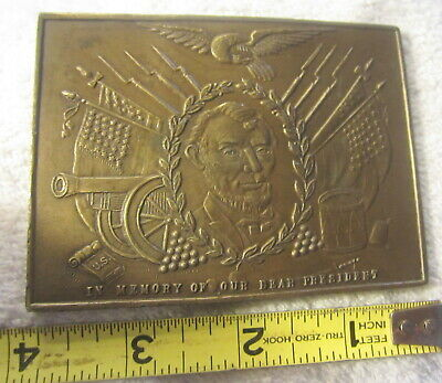 "Vintage ""In Memory of Our Dear President"" Abraham Lincoln Memorial Belt Buckle"