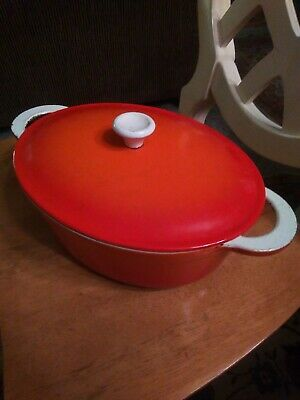 Vintage Descoware Belgum Flame  Orange Enameled Cast Iron Oval 4 Qt Dutch Oven
