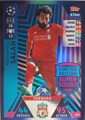 MATCH ATTAX 2018/19 UEFA Limited Edition SUPER SQUAD Card MOHAMED SALAH LE10