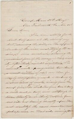 Nov. 1863 Civil War Soldier Letter - Falmouth Va  Fredericksburg - Great Content