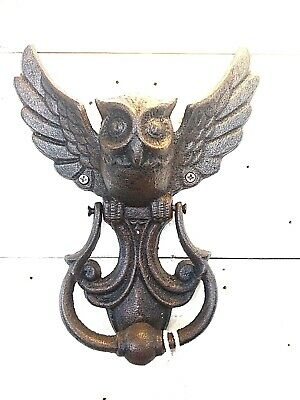 Vintage Style Owl Door Knocker Cast Iron  Solid Antique Style Rustic Decor