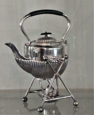 Fine Antique Martin Hall Silver Plated Gadroon Fluted Spirit Kettle C 1860+