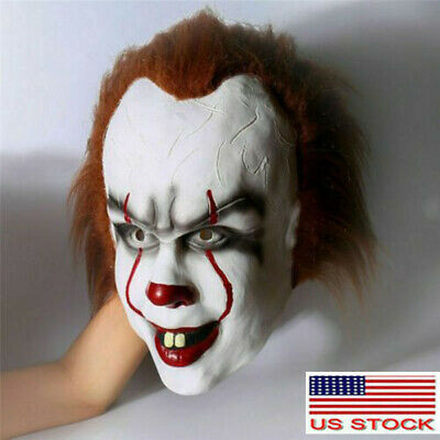 Halloween Cosplay Scary Mask Costume Movie Stephen King's IT Clown Pennywise US