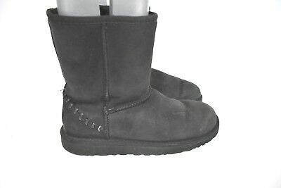 UGG Kids Classic Short Deco Leather Boots Black 1009254Y Size 6