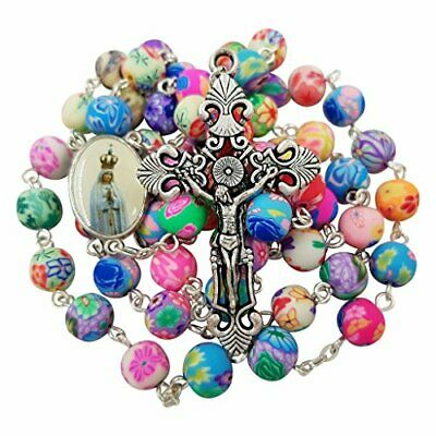 CATHOLIC ROSARY NECKLACE Colorful Polymer Beads Our Lady of Fatima Jesus Cross