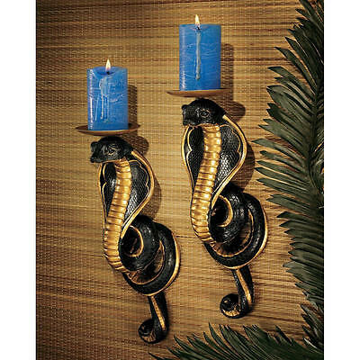 Egyptian Set of 2 Cobra Sculptures Goddess of Fortune Snake Candle Holder NEW