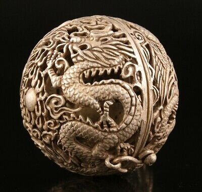 Unique China Tibetan Silver Pendant Incense Ball Hollow Dragon Phoenix Gift Old