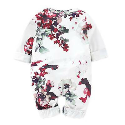 Newborn Girl Baby Romper Playsuit Floral Ruffle Jumpsuit Bodysuit Clothes Outfit