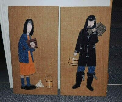 Vintage Pair of String Art Wool on Canvas Pictures Canadiana Tramp Pioneer Folk