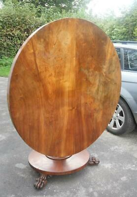 Antique Victorian Round Mahogany Tilt Top Breakfast / Loo Table Huge Claw Feet!